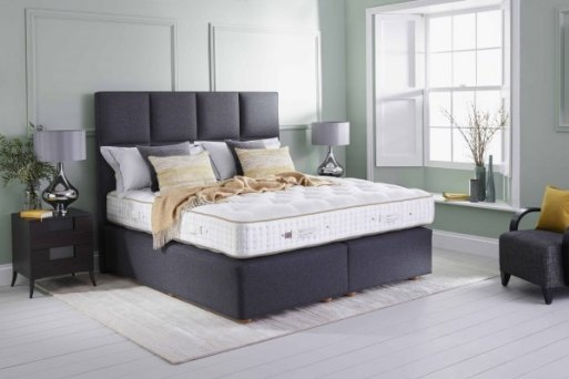 Vispring bed in grey