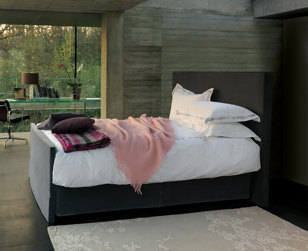 vispring herald superb bed in grey with white bedding