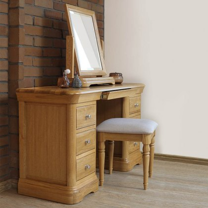 Lacoste Oak Dressing Table with optional Mirror & Stool