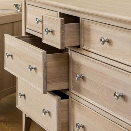 New England Oak Wide Chest of Drawers - 7 Drawer