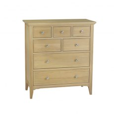 New England Oak Tall Chest of Drawers - 7 Drawer