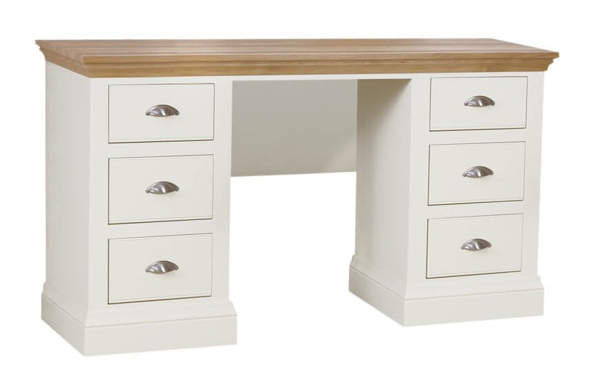snuginteriors Hambledon Double Pedestal Dressing Table with Optional Mirror & Stool