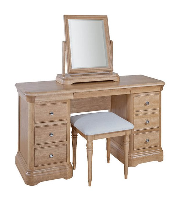 snuginteriors Lacoste Oak Dressing Table with optional Mirror & Stool