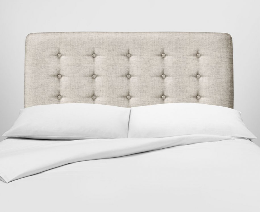 Vispring Achilles Headboard with buttoning in neutral fabric