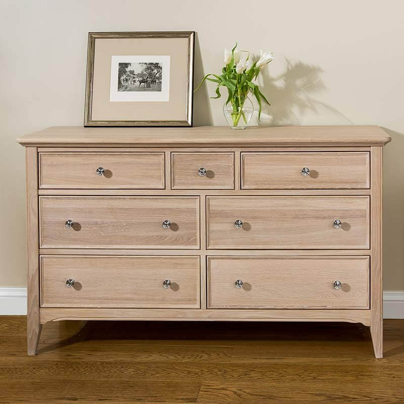 snuginteriors New England Oak Wide Chest of Drawers - 7 Drawer