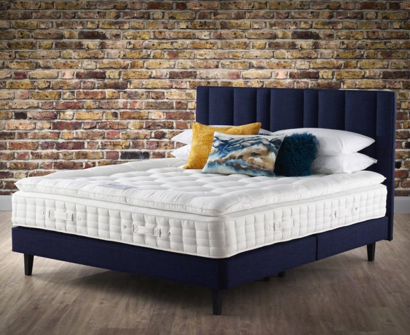Pillow Top Stellar Shallow Divan on Legs with Harriett Headboard in Blue