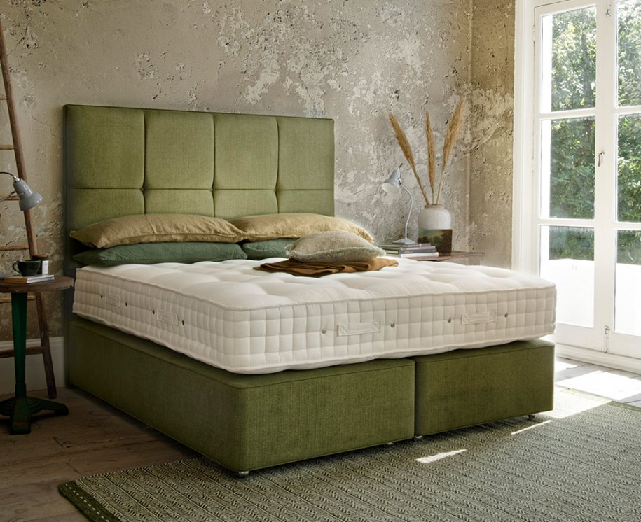 Hypnos Wool Origins 8 Mattress with Deep Divan and Tall Headboard in Green
