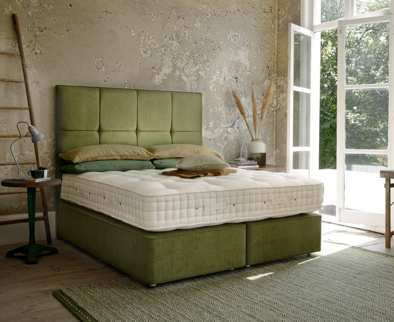 Wool Origins 8 Divan Bed with Grace headboard in green