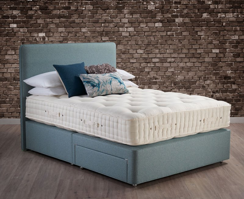 Wool Origins 6 Hypnos drawer divan with mattress and Emily headboard in blue fabric